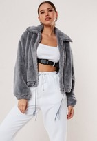 Missguided Grey Cropped Faux Fur Bomber Jacket