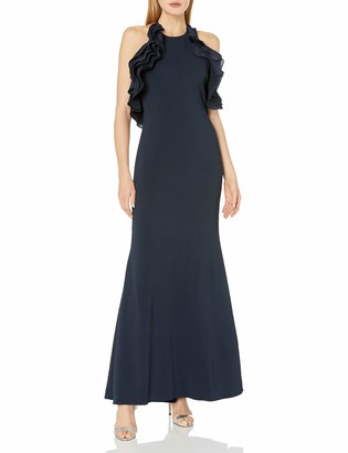Badgley Mischka Women's Ruffle Halter Gown