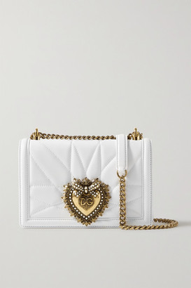 Dolce & Gabbana Devotion Mini Embellished Quilted Leather Shoulder Bag - White
