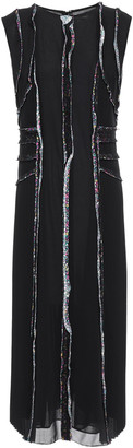 Jason Wu Frayed Pleated Georgette Midi Dress