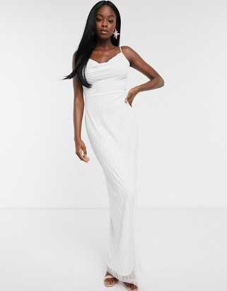 Lipsy cowl front embellished cami strap maxi dress in white