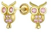 Bling Jewelry CZ Wise Owl Bird Stud Earrings Real 14K Yellow Gold Screwback