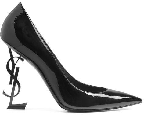 Saint Laurent Opyum Logo Heel Patent Leather Pumps - Womens - Black