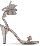Chloé Mike Metallic Cracked-leather Sandals - Silver