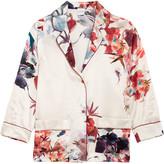 Carine Gilson Printed silk-satin pajama shirt