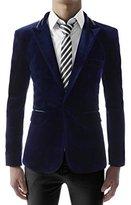 (JKV01) Mens Slim Fit Single Breasted Peaked Lapel 1 Button Velvet Blazer BLUE