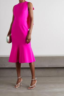 Oscar de la Renta - Bow-detailed Virgin Wool-blend Midi Dress - Pink