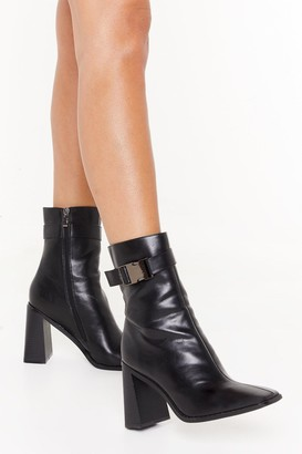 Nasty Gal Womens Doin' It For Clicks Faux Leather Buckle Boots - Black - 5, Black