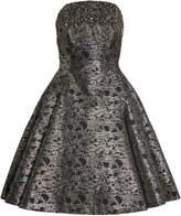 Pamella Roland Fringe-Detailed Metallic Jacquard Cocktail Dress