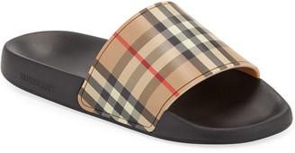 Burberry Men's Furley Vintage Check Pool Slide Sandals