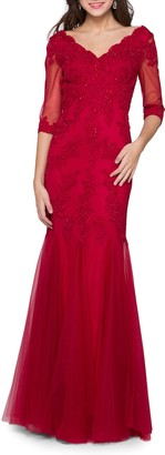 MARSONI Godet Lace & Chiffon Trumpet Gown