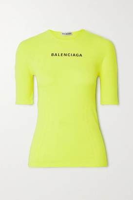 Balenciaga Printed Neon Stretch-jersey T-shirt - Yellow