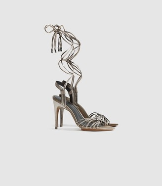 Reiss Cassidy - Strappy High Heeled Sandals in Silver
