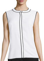Liz Claiborne Sleeveless Piped Blouse - Tall