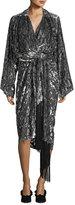 Michael Kors Leopard Velvet Fil Coupe Kimono Wrap Dress