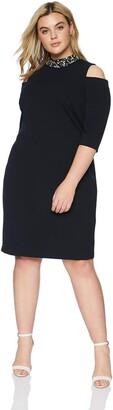 Eliza J Women's Plus Size Cold Shoulder Sheath Dress with Beaded Collar