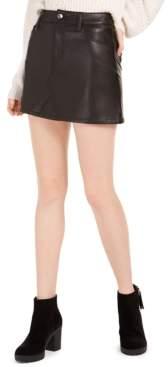 Rewash Juniors' Faux Leather Mini Skirt