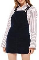 Topshop Women's Moto Velvet Pinafore Dress