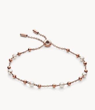 Fossil Rose Gold-Tone Stainless Steel Chain Bracelet jewelry JOF00639791