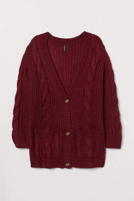 H&M H&M+ Cable-knit Cardigan - Red