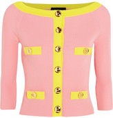 Moschino Two-tone Ribbed Cotton Cardigan - Pink