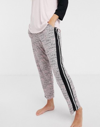 DKNY knit jogger with side stripe in pink