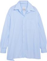 Vetements Brioni Oversized Frayed Cotton-poplin Shirt - Light blue
