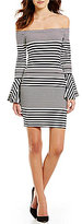 Sugar Lips Sugarlips Stripe Off-the-Shoulder Bell Sleeve Printed Sheath Dress