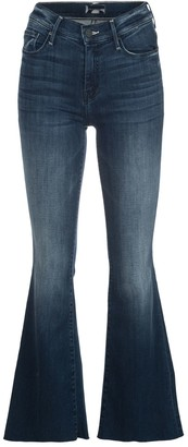 Mother High-Rise Raw-Hem Flared Jeans
