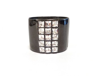 Kenneth Jay Lane Gray Enamel Cuff with 3 Row Crystal Center