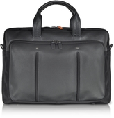 Giorgio Fedon Web File 2 Black Leather and Nylon Men's Briefcase