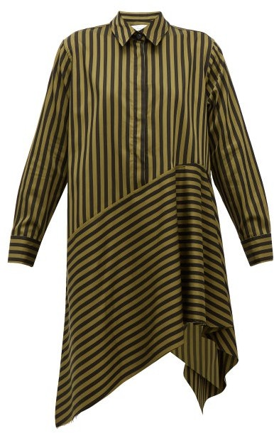 Marques Almeida Marques'almeida - Asymmetric-hem Striped Cotton Dress - Womens - Khaki