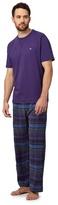 Mantaray Big And Tall Purple Checked T-shirt And Bottoms Pyjama Set