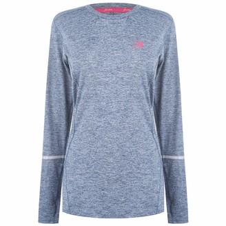 Karrimor Womens Xlite MI T Shirt Long Sleeve Performance Top Crew Neck Light Grey Marl 6 (XXS)