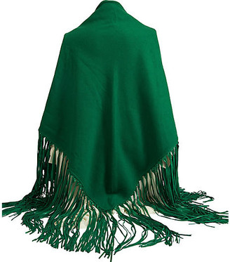 One Kings Lane Vintage Hermes Green Cashmere/Leather Shawl - Vintage Lux