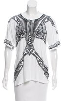 Herve Leger Printed Short Sleeve Top