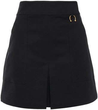 A.L.C. Pleated Barbell-embellished Stretch Cotton-blend Mini Skirt