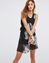 Religion Wrap Front Layer Mini Dress With Abstract Bird Print