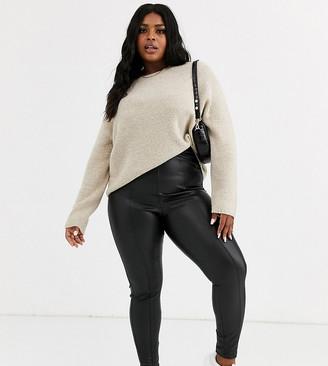 New Look Plus Curve leather look leggings in black-Pink