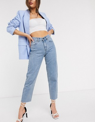 Lost Ink high waist straight leg jeans in light wash denim