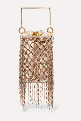 Rosantica Rimbaud Fringed Crystal-embellished Gold-tone And Velvet Tote