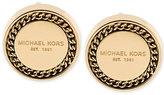 Michael Kors Gold-Tone Logo Plaque Button Stud Earrings