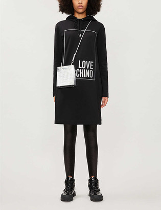 Love Moschino Lame logo-print hooded stretch-cotton mini dress