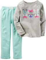 Carter's 2-pc. Gray Butterfly Top and Pants Set - Baby Girls newborn-24m