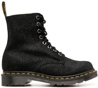 Dr. Martens Lace-Up Glitter-Effect Leather Boots