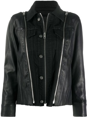 Diesel Panelled Denim Leather Jacket