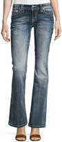 Miss Me Faded Boot-Cut Embroidered Denim Jeans, Medium Wash 333