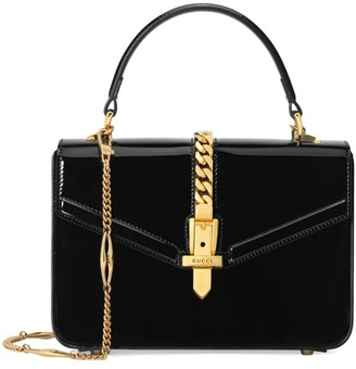 Gucci Sylvie Patent Leather Mini Top Handle Bag