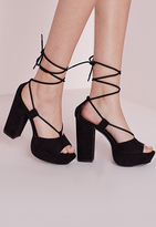 Missguided Lace Up Platforms Black