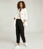 Reiss Astrid - Wool Blend Double Breasted Blazer in Ivory